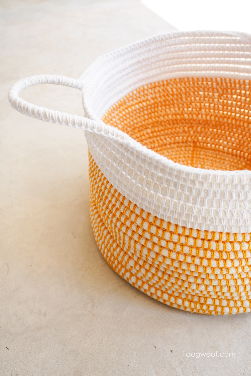 customizable handles on coiled crochet basket