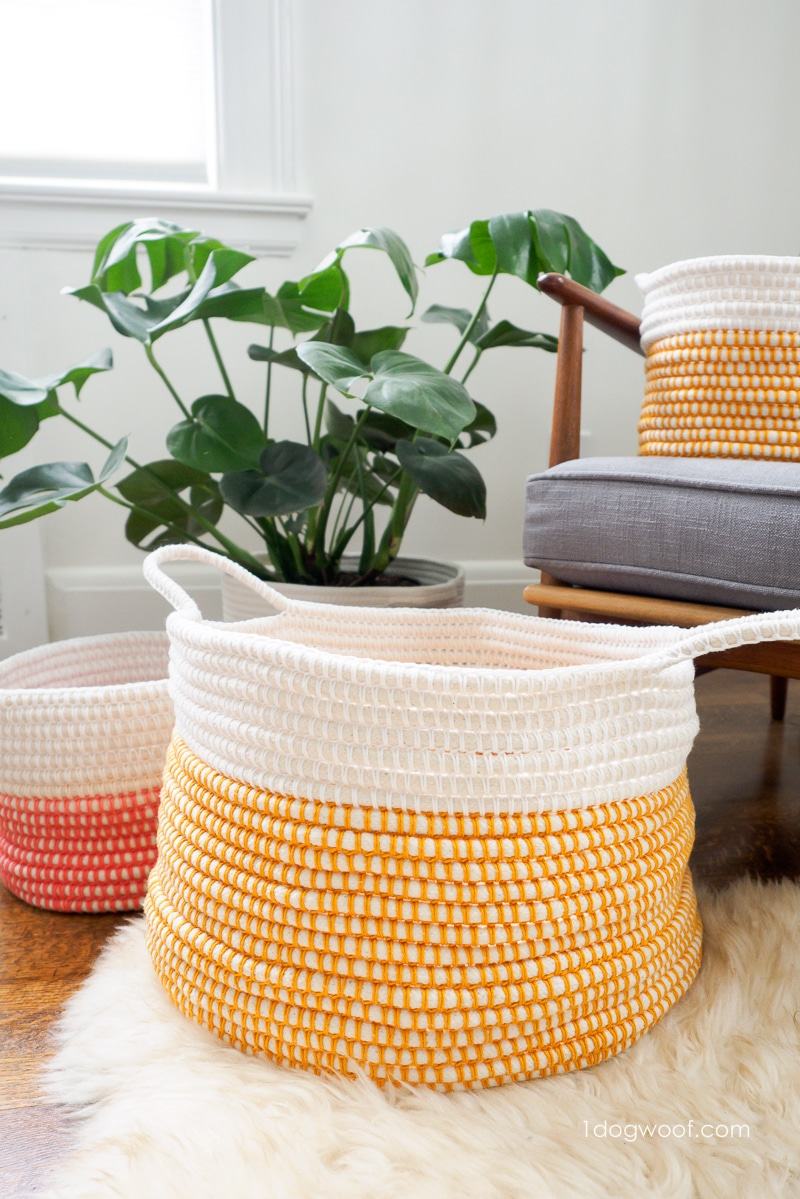Coiled crochet baskets in assorted sizes