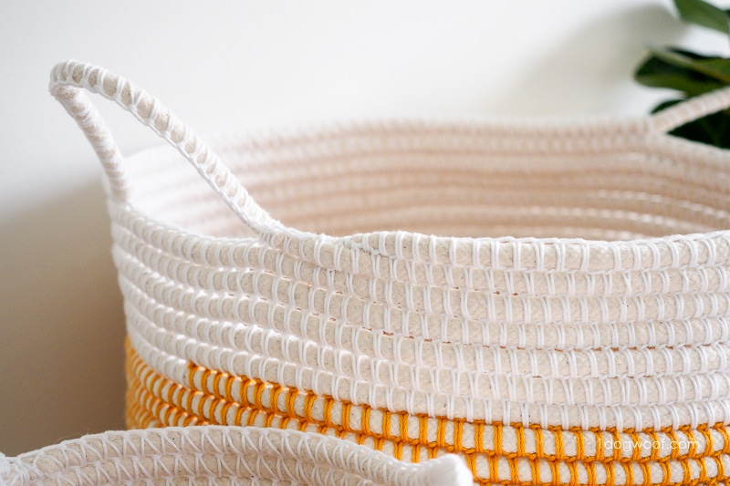 Close-up of coil crochet basket handle, ends, and color change