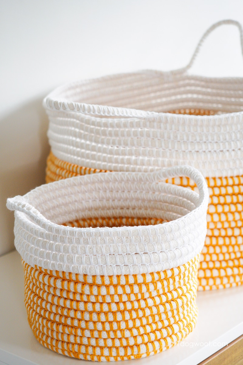 2 different sized coiled crochet baskets
