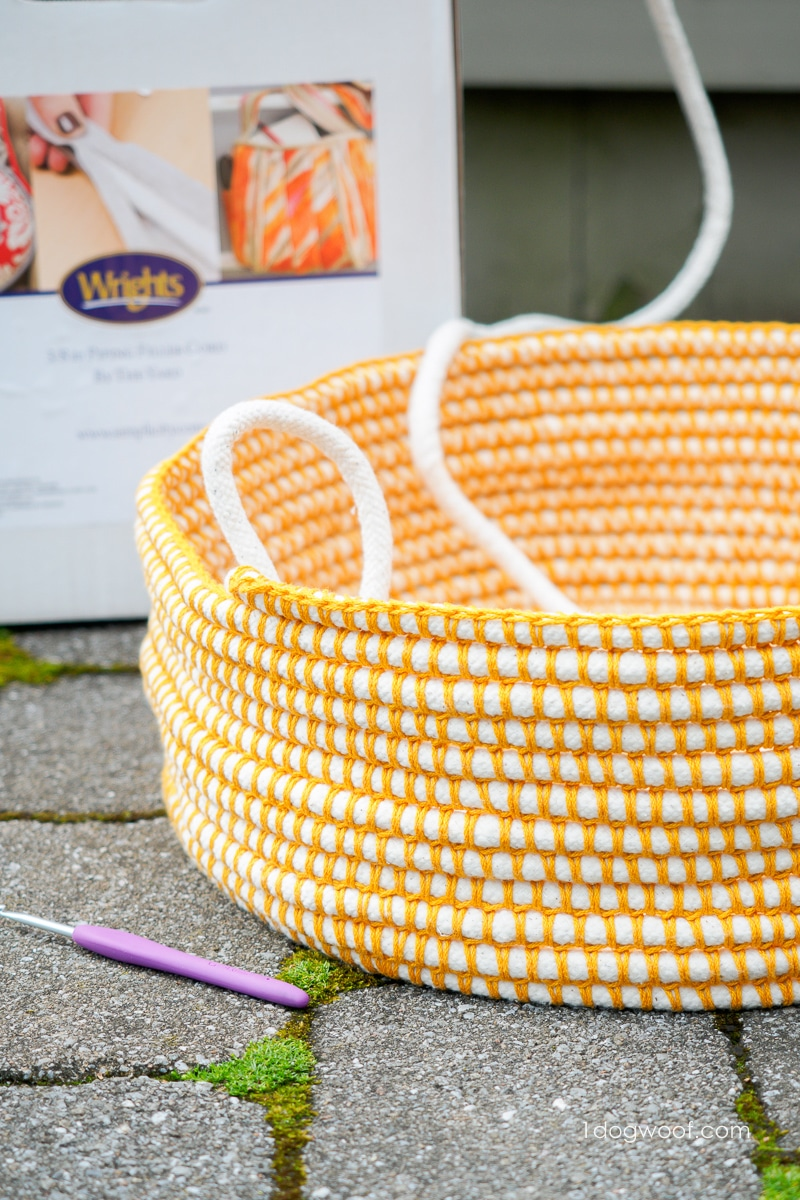 Coil basket in progress with piping filler cord in background