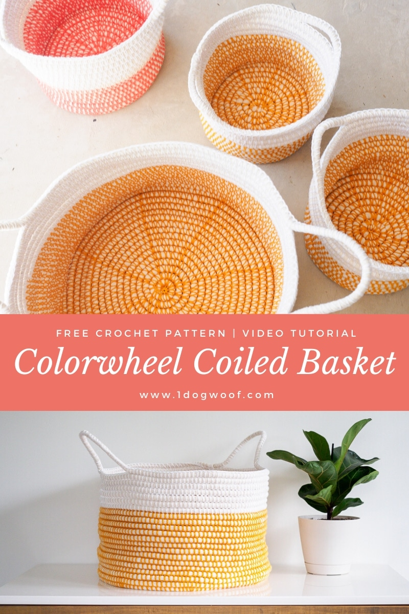 Colorwheel Coiled Crochet Basket