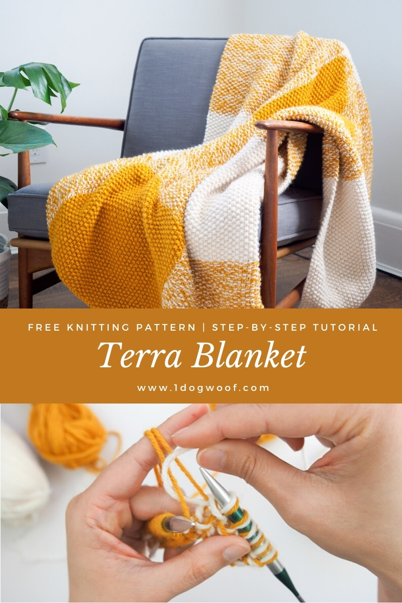 knit seed stitch blanket on chair pin image