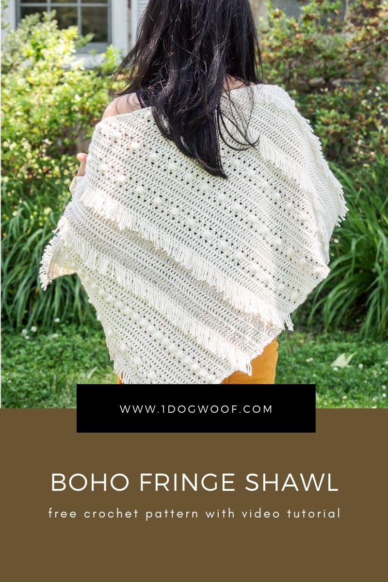 back view of boho style crochet shawl