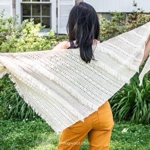 full view of boho fringe shawl