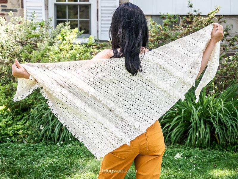 full view of boho fringe shawl