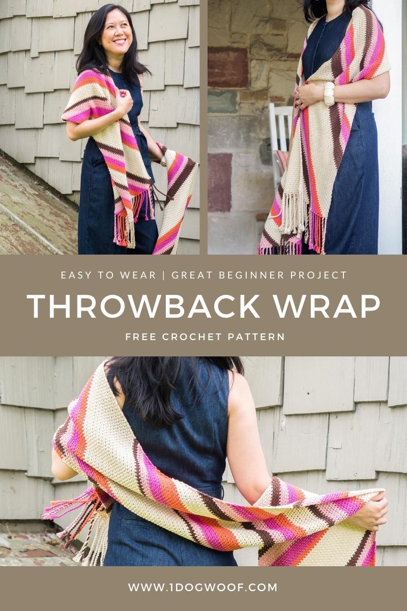 throwback wrap crochet shawl free pattern