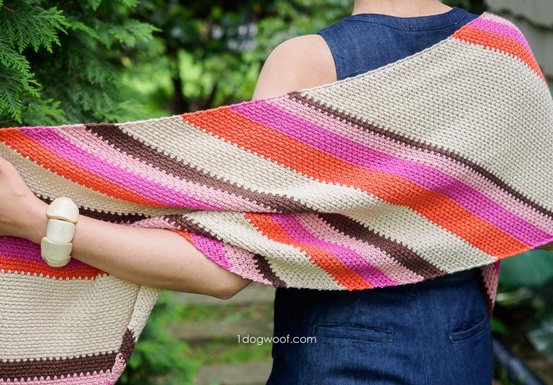 crochet shawl pattern with bias stripe