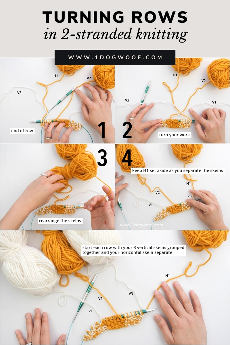turning rows in 2-stranded knitting