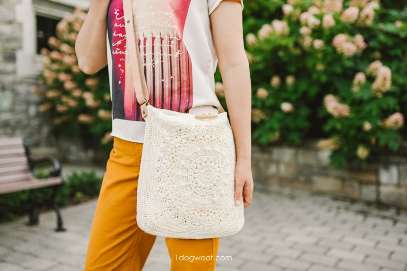 Marigold cross body bag with leather straps