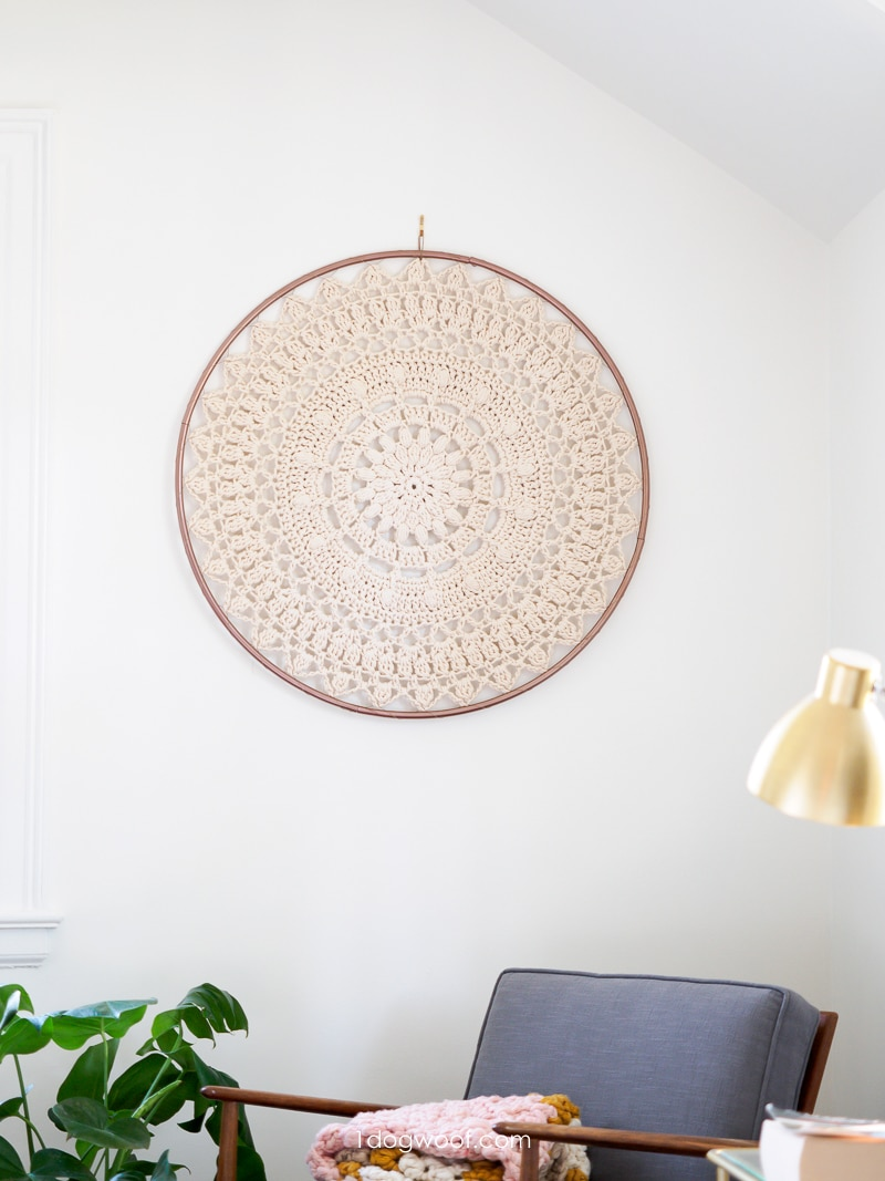 Bloom Mandala using macrame rope in metal hoop on wall
