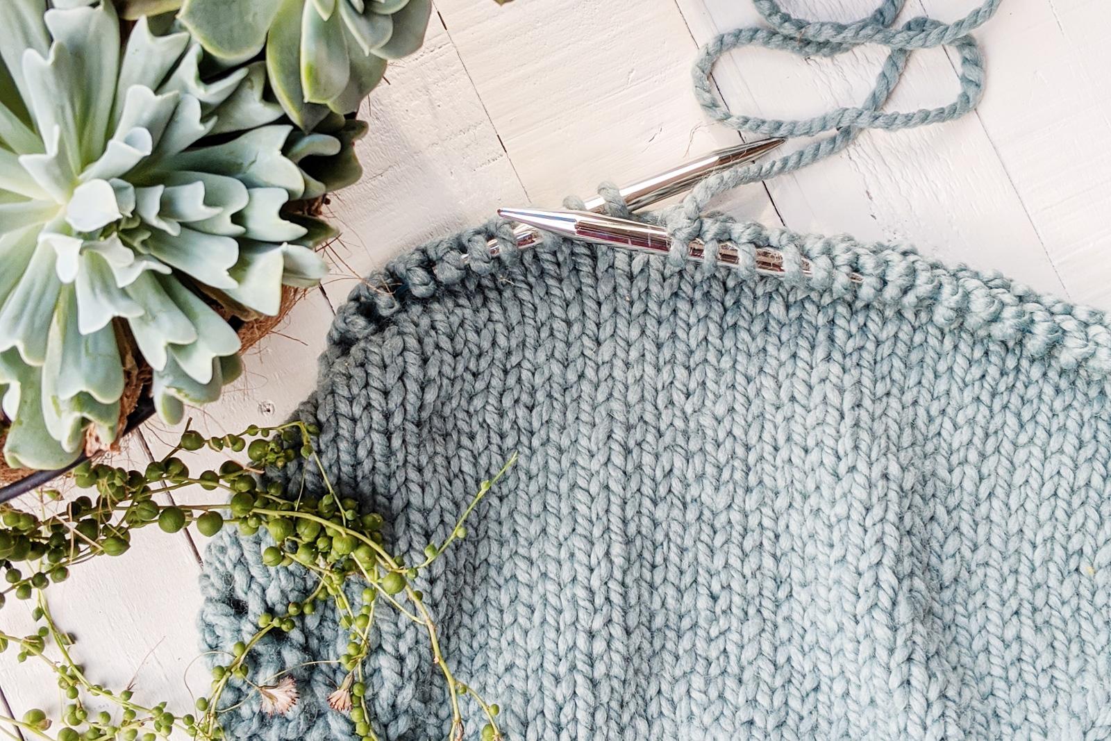 knitting stockinette stitch succulent