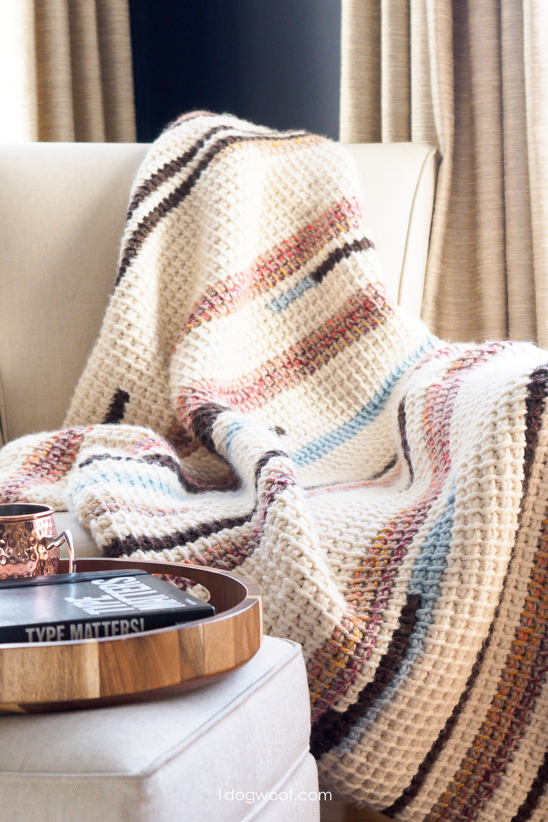 Sunset Stripes: Free Tunisian Crochet Blanket Pattern Part 1