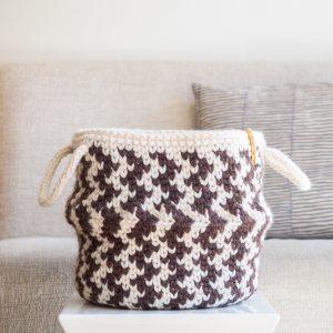 Zig Zag Striped Belly Basket Crochet Pattern