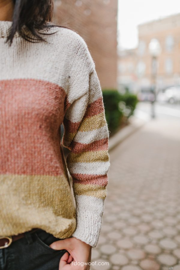 striped sleeve sweater knitting pattern