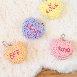 Candy Conversation Hearts Keychains for Valentine's Day