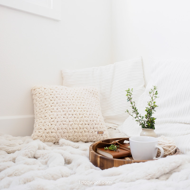 white jasmine star stitch pillow