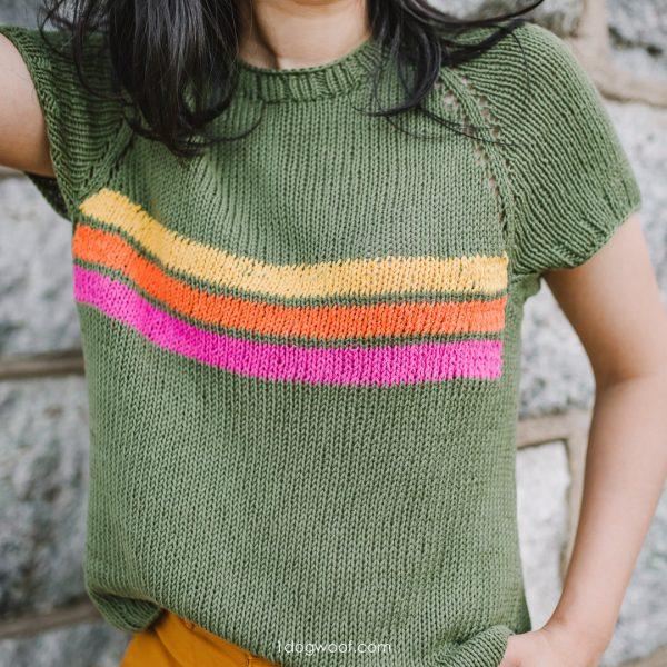 retro stripe raglan tee knitting pattern