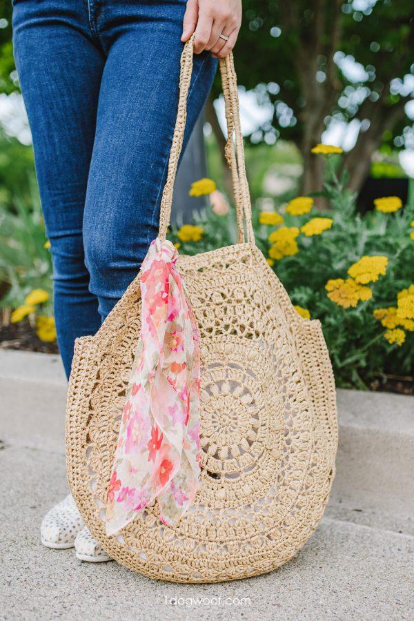 sunburst circle bag with pink scarf