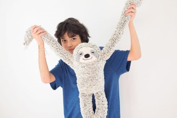 plush knit sloth with long arms