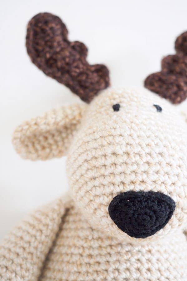 close up of plush reindeer