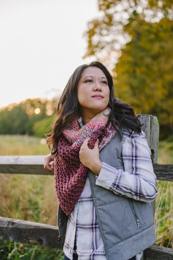 garter and stockinette easy knit shawl