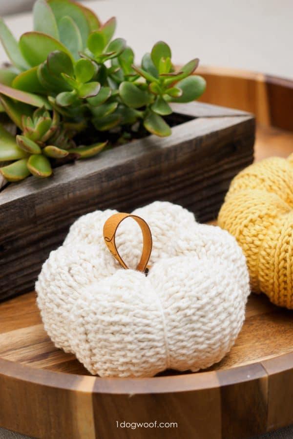 white tunisian crochet pumpkin