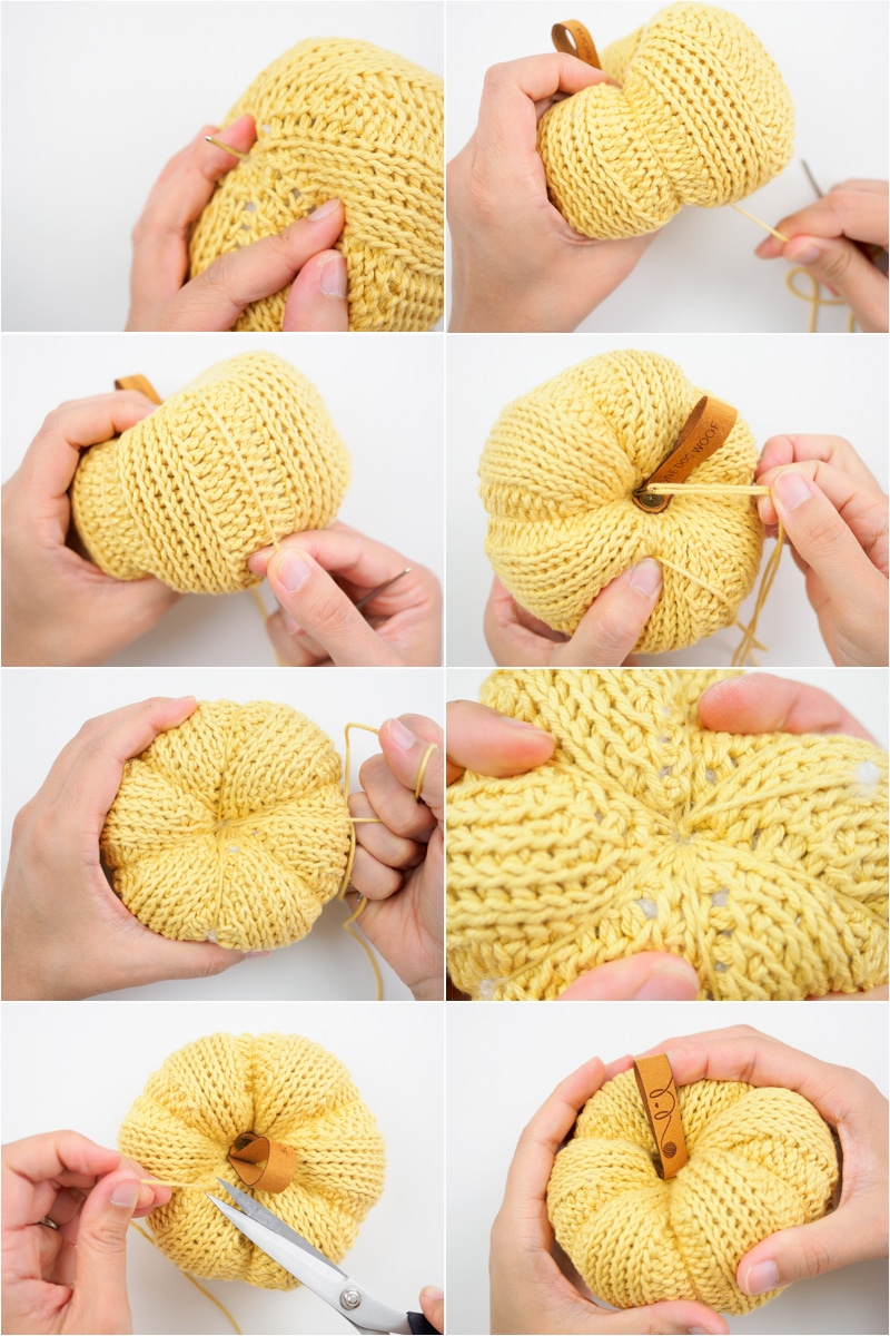 yarn pumpkin photo tutorial