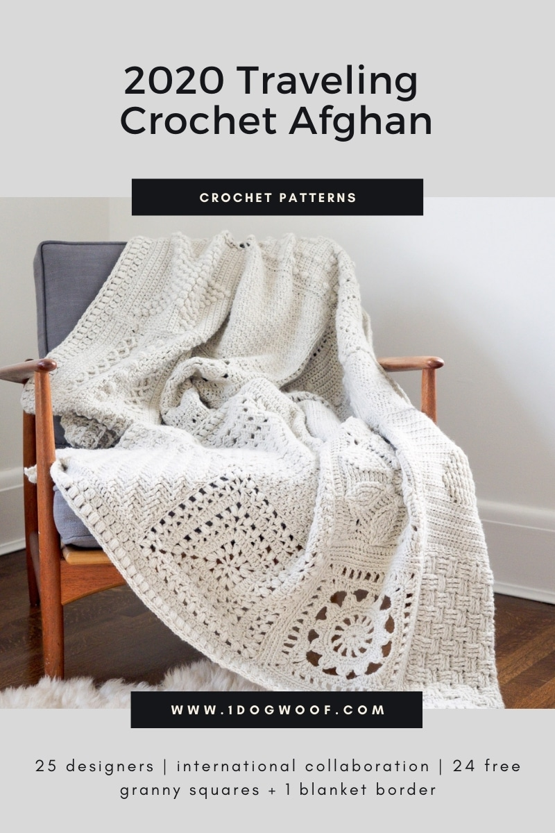 large granny square blanket on chair