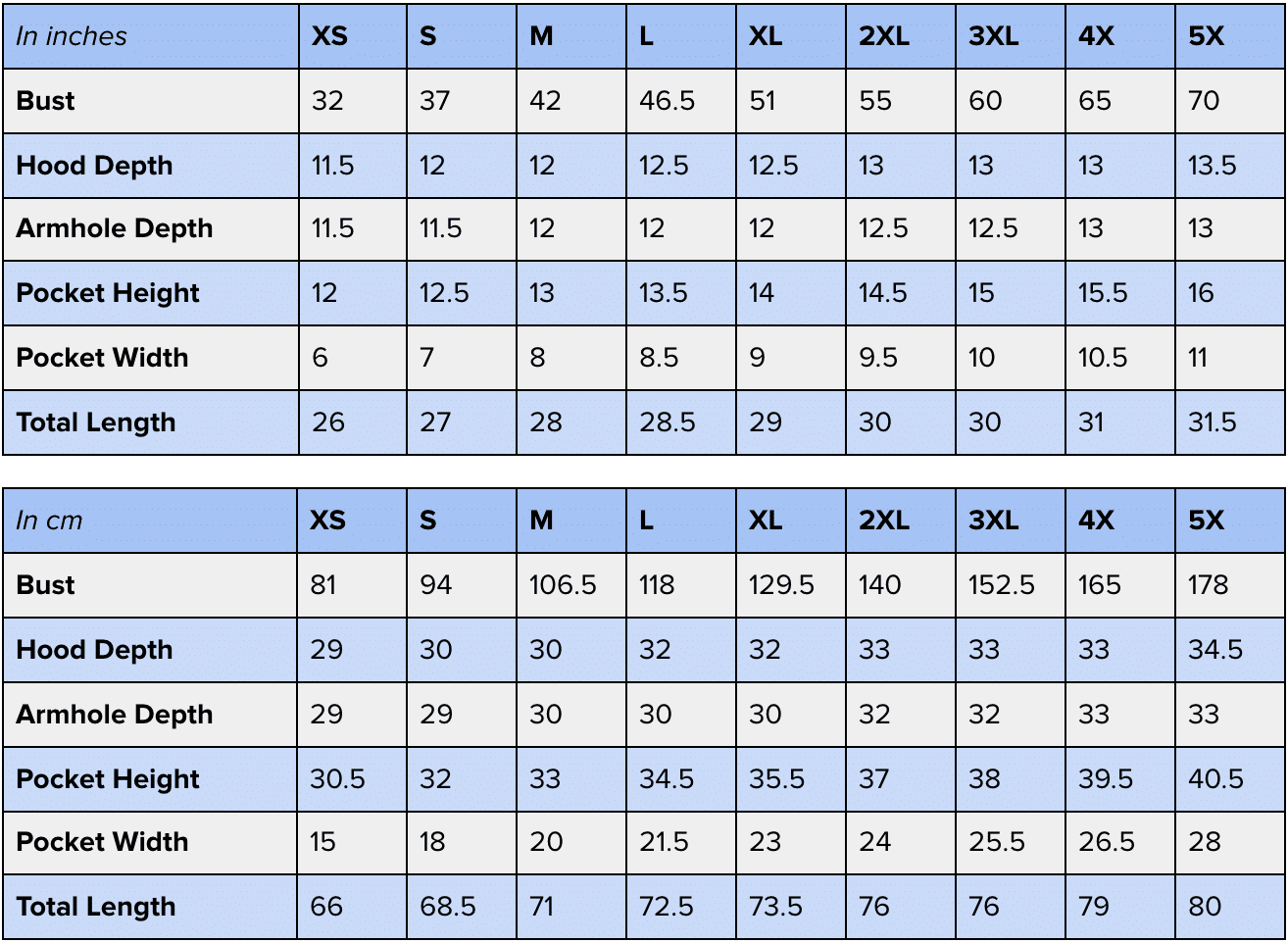 Lola Hooded Vest measurements in inches and cm