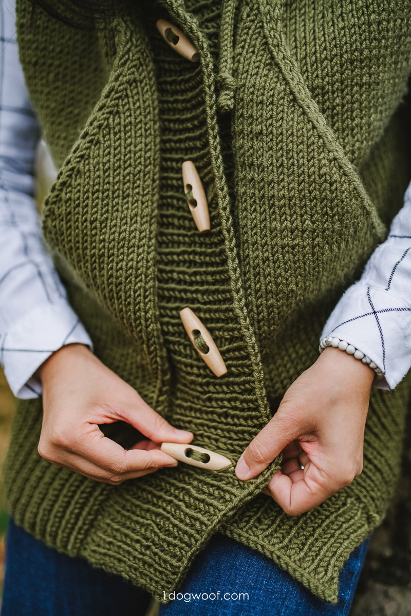 large toggle buttons on olive knit vest