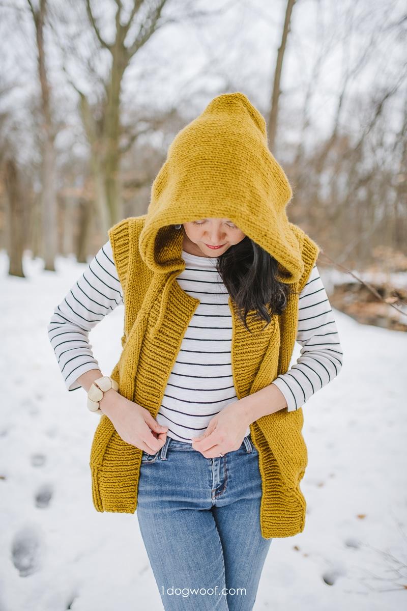 oversized hood, mustard Lola Hooded Vest