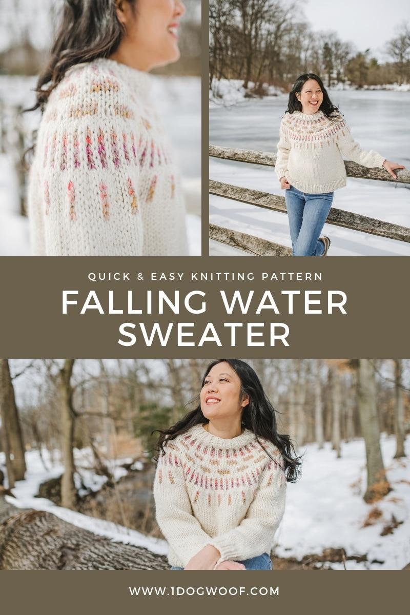 falling water sweater collage pin