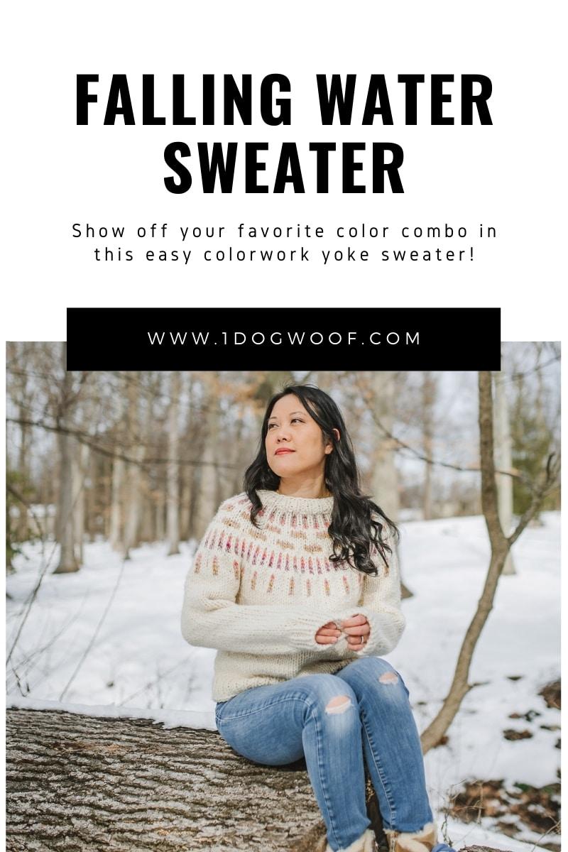 falling water sweater beginner colorwork yoke sweater
