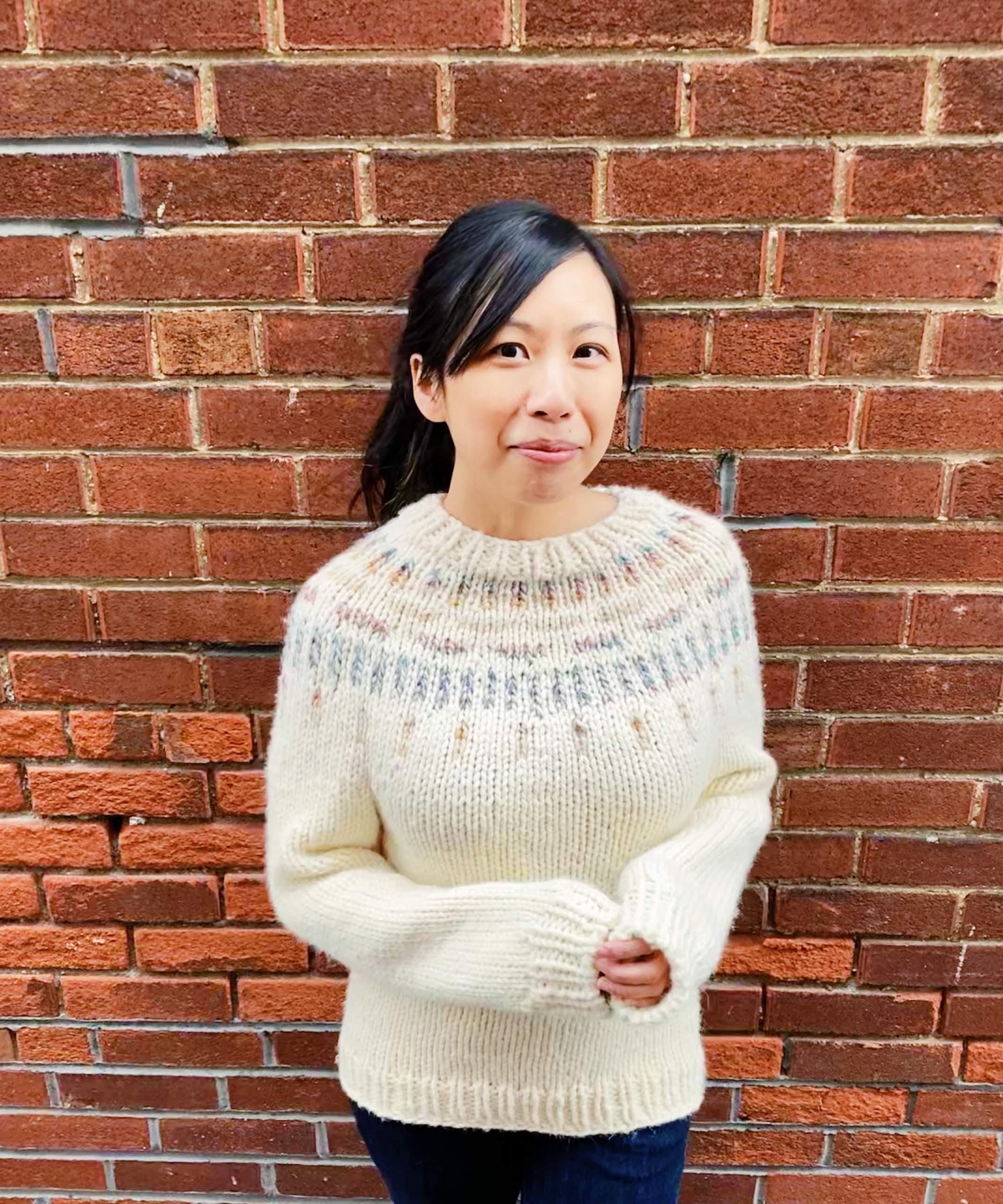 color yoke on cream sweater