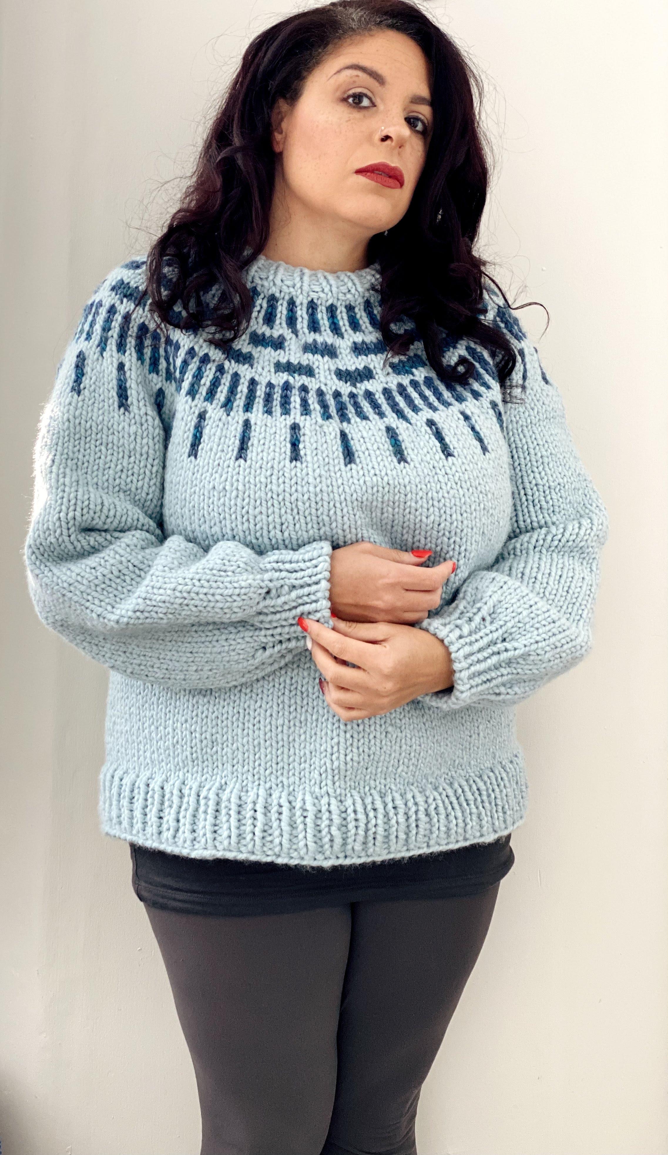 blue on blue falling water sweater