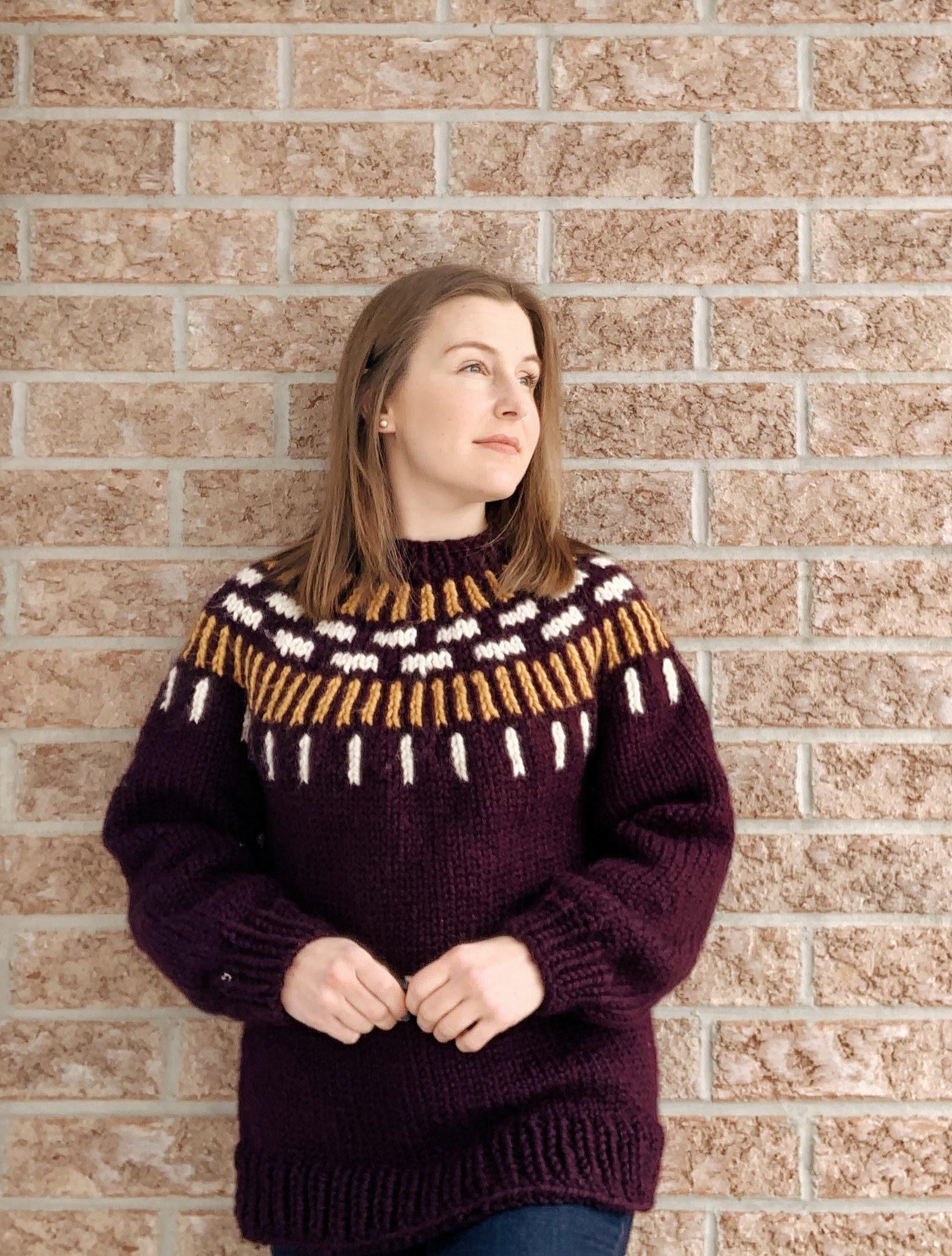 gold and burgundy yoke sweater
