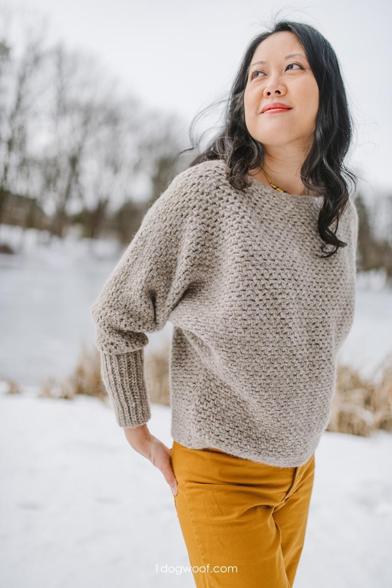 fuzzy batwing sweater