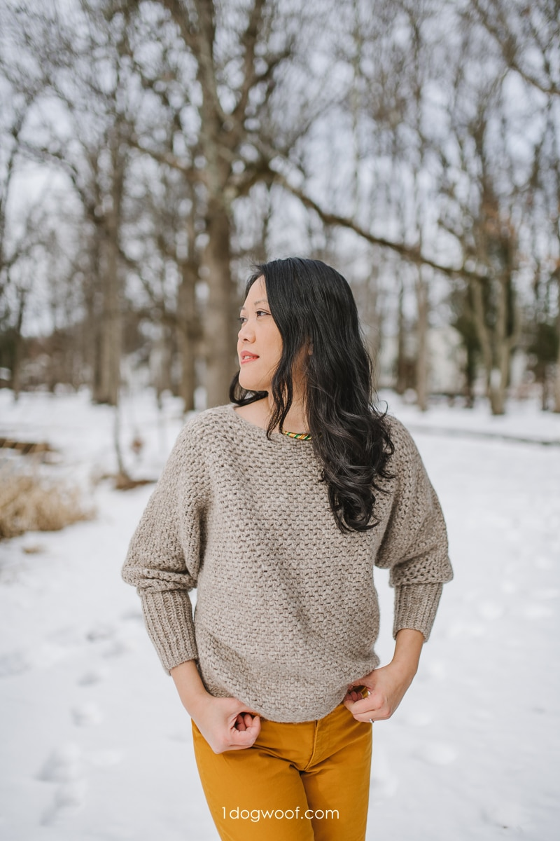plume batwing sweater with long ribbed cuffs